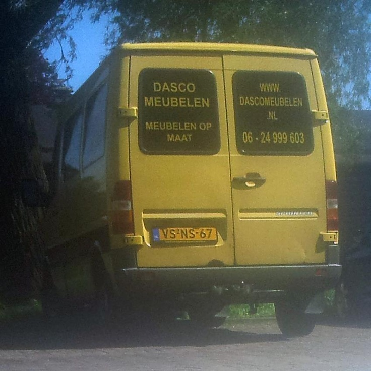 """Please share, let FB find our bus! Our bus has been stolen, VS-NS-67, Yellow Mercedes Sprinter. Dasco Meubelen stickers on the side and back. The finder will be rewarded with furniture! Share it please!"""