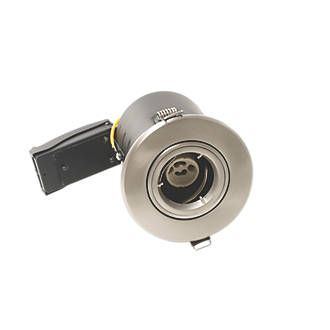 LAP Tilt Round Fire Rated Downlight Brushed Steel 220-240V   Fire Rated Downlights   Screwfix.com