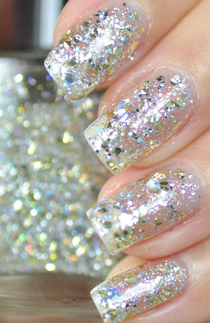 Mumbling Silver and Gold Glitter Nail Polish 15ml(.5oz). $9.25, via Etsy.