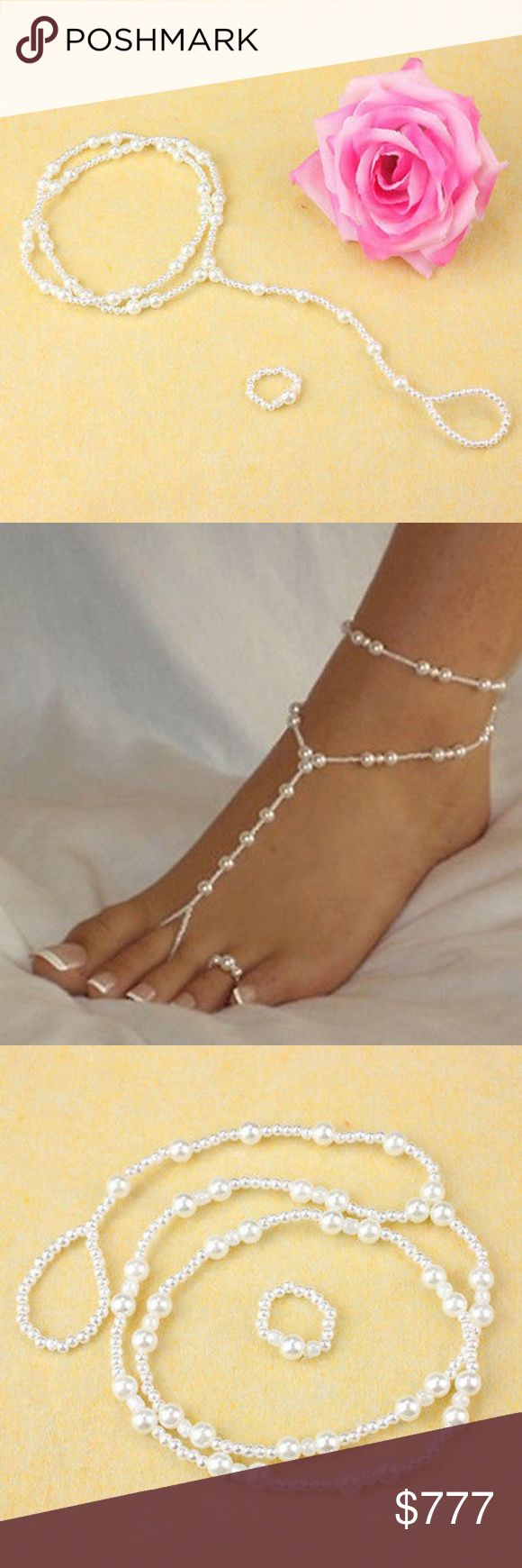 Beautiful Pearl Stretchy Bare Foot Sandal Anklet Delicate, Elegant and beautiful. This barefoot sandal can be worn with or without shoes. Perfect for weddings, proms, parties, or anytime you want to add a bit of glamour. Stretchy and is meant to wrap around ankle. Stretchy matching toe ring included! Gulperi4 Jewelry