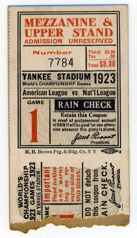 First World's Series game in Yankee Stadium