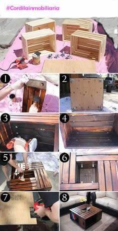 ¿Quieres una mesa de centro especial? Te mostramos esta mesa hecha con cajas de madera recicladas, además podrás guardar libros y revistas en alguno de sus espacios. ¡Inténtalo! #Cordialinmobiliaria