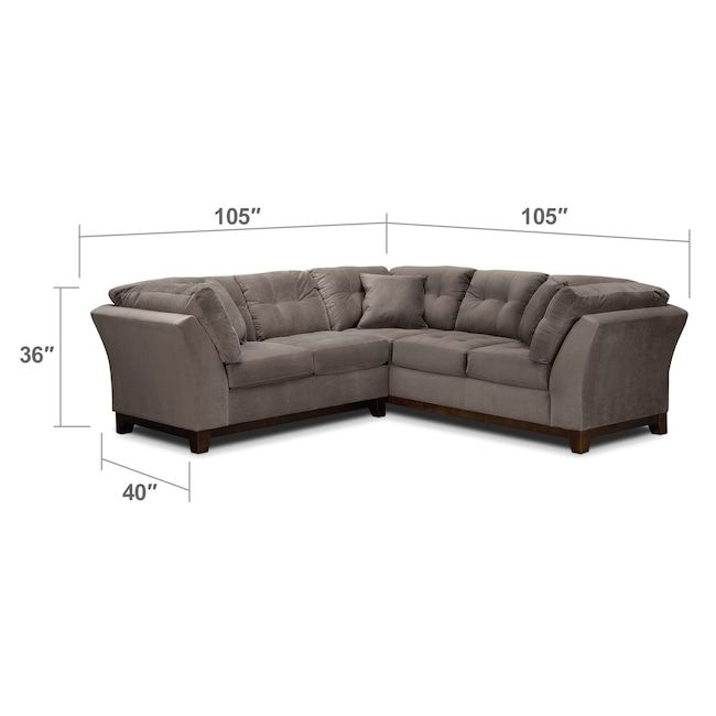 Sebring 2-Piece Sectional with Left-Facing Loveseat - Gray | Value City Furniture