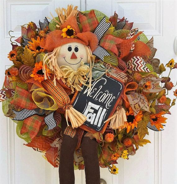 Large Fall Wreath  Scarecrow Wreath  Mesh by StudioWhimsybyBabs