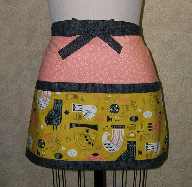 "Scandinavian apron birds cotton danish modern design nordic style bird 15 1/2"" long 20"" wide 31"" long ties 82"" end to end 8"" deep pockets"