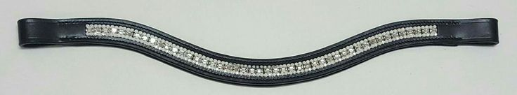 Novas Equestrian white and clear crystal wave browband.
