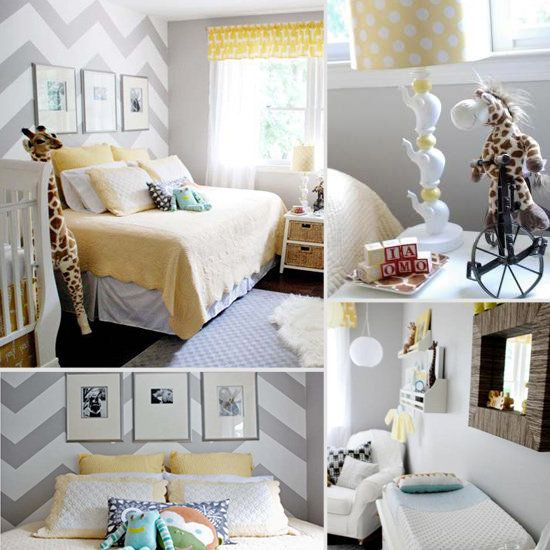 gray and yellow nursery - add a daybed for when baby's sick so you don't have to keep getting up all night; colors are Behr's Natural Grey (UL260-11) and Yellow Corn (330B-5) - more details here: http://www.mamemima.com/search/label/nursery