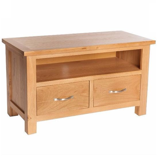 Lexington Wooden TV Stand In Oak With 2 Drawers
