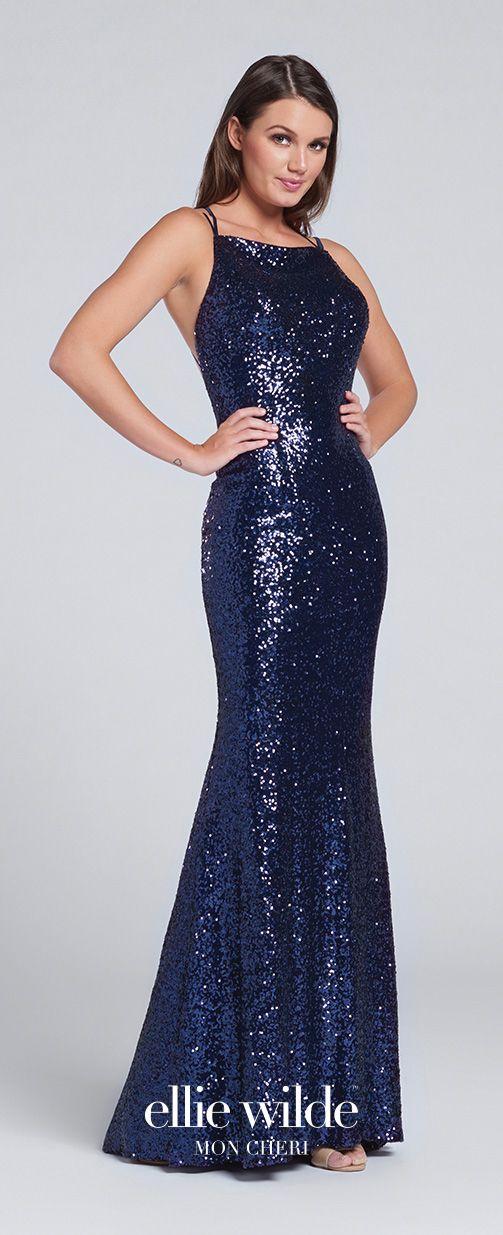Prom Dresses 2017 - Ellie Wilde for Mon Cheri -  navy blue sleevelss sequin prom dress with crisscross back straps - Style No. EW117115