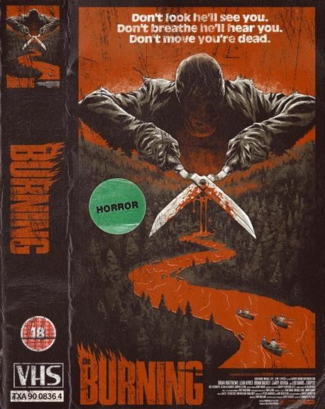 The bruning (1981) Slasher/Horror ------Among the mess and madness that is 80's VHS-covers this one really stands out as an actual artwork both creative and smart.