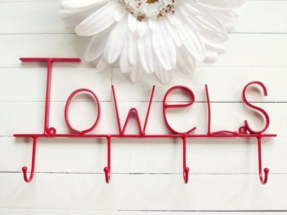 Red Pool Sign / Towel Holder / Pool Decor / by ReformedMetals, $27.00