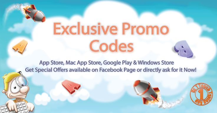 Unique Promo Codes of typing game for Kids & Children!   Exclusive Promo code available on App Store, Mac App Store, Google Play & Windows Store! Limited Promo Codes available of free download Typing App! Expire Soon - Hurry Up!