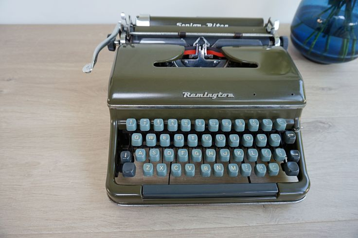 Rare Remington Senior-Riter Typewriter. Classic Army Green 1950s Portable Typewriter for sale now. http://www.etsy.com/listing/547266878