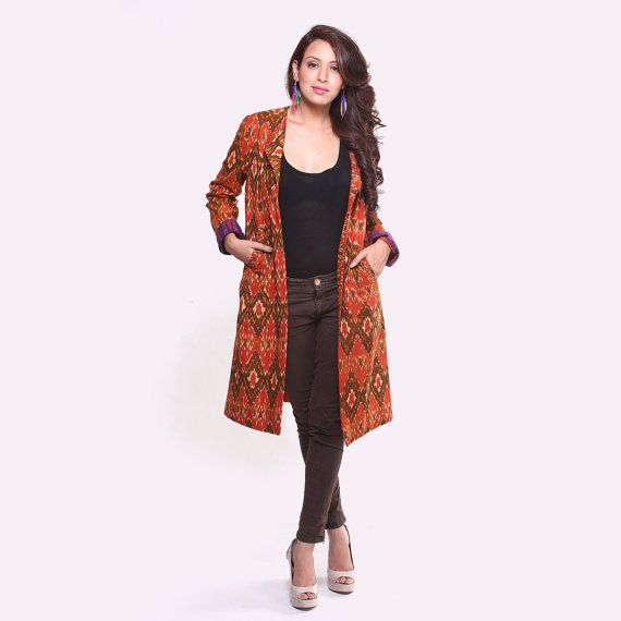 Ethnic Cotton Ikat Jacket by EthnicheBySwatiKain on Etsy, $74.99