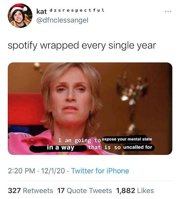 Funny Embarassed Reactions To Spotify Wrapped 2020 Spotify Science Memes Really Funny