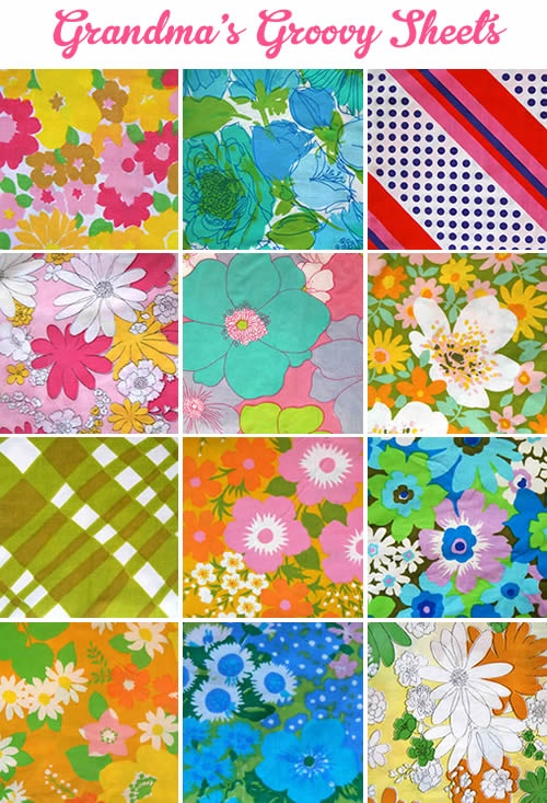 (a collection of vintage sheets) We used to have the pattern in the 2nd row from the top, first on the left.