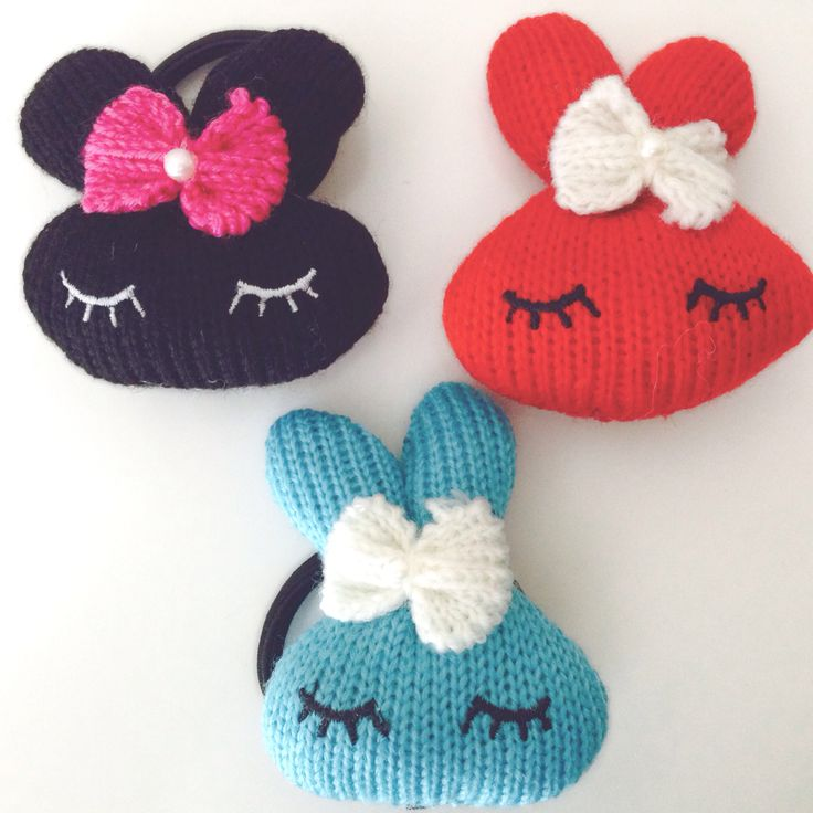 Knitted bunny hair ties..