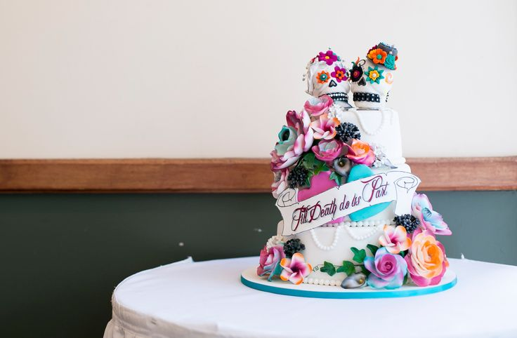 Day of the Dead skull Wedding cake - Salt Studios| Toowoomba Wedding and Commercial Photography