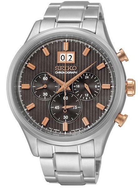 Montre Homme Seiko SPC151P1, boîtier et bracelet en acier, cadran gris, fonction chronographe et date.