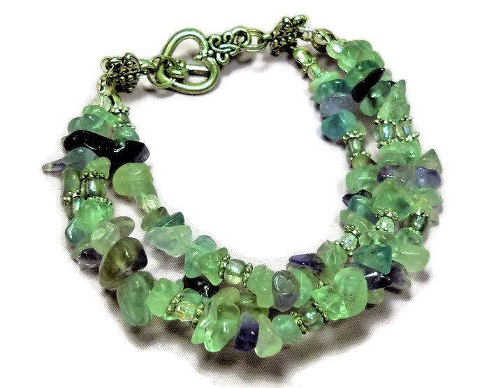 Fluorite 3 row bracelet by Gemissima on Etsy