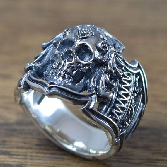 Gothic Skull Ringdelicate hand carving925 SolidSterling