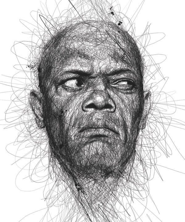 Faces, Celebrity Portraits Made from Scribbled Lines by Vince Low