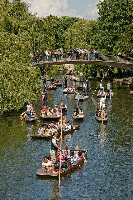 Punting on Cam River, Cambridge, England