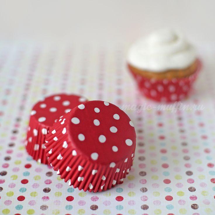 Формочки красные в горох, 12 шт. капкейк маффин торт декор крем выпечка рецепт cupcake muffin cake cup baking frosting decor birthday