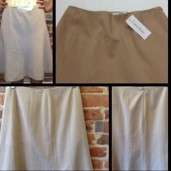 "⬇️ NWT Calvin Klein Trumpet Skirt Polyester, Rayon & Spandex Camel Color Skirt (23"" from hip to hem); 30"" waist Calvin Klein Skirts"