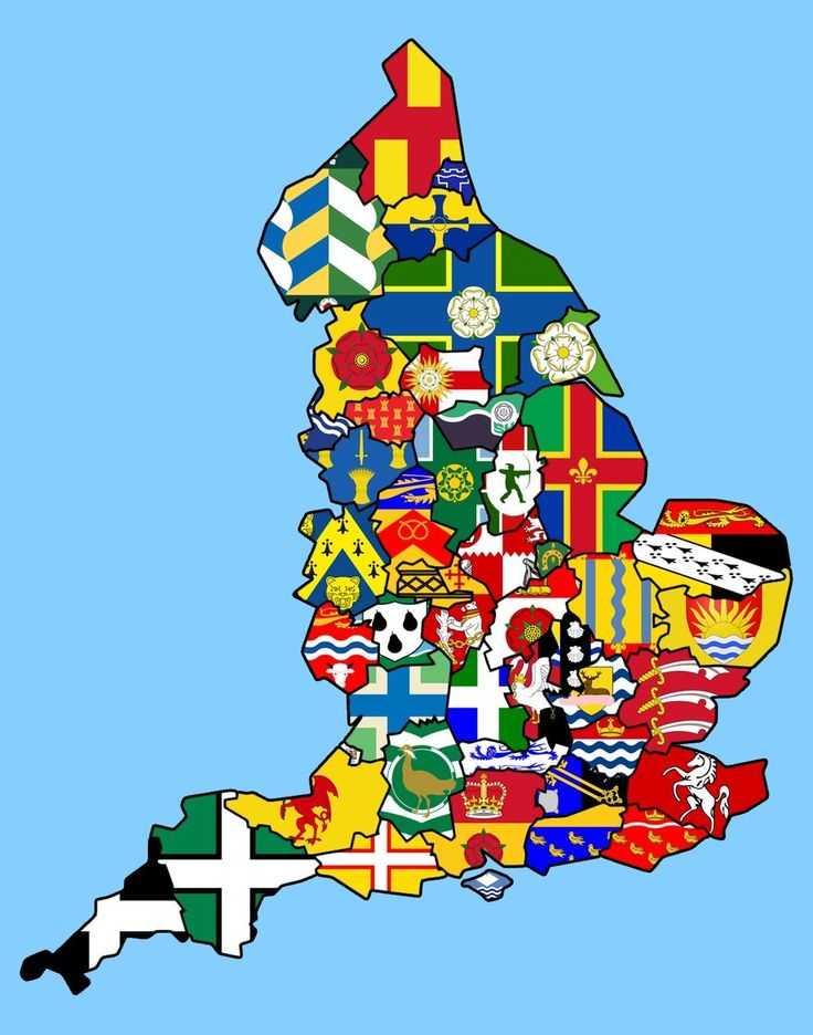 Bonus: A not funny, but very cool map of England showing each county's flag. | 12 Maps Only British People Will Find Funny