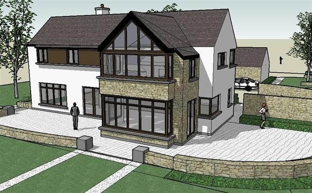 Perspective view of proposed front elevation for new dwelling near Cork City Airport,Cork by Hugodesign