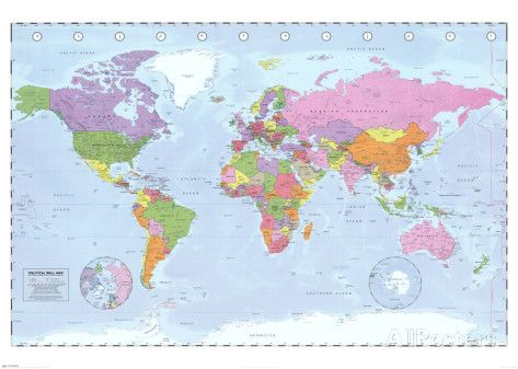 World Map (Political, Time Zones) Posters bij AllPosters.nl