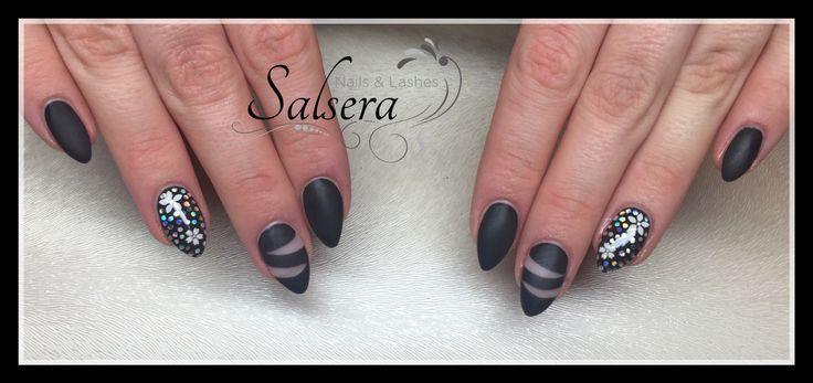 Nägel Nägel Nail Art Cut-Out Stil Full Cover schwarz matt schwarz Pailletten …