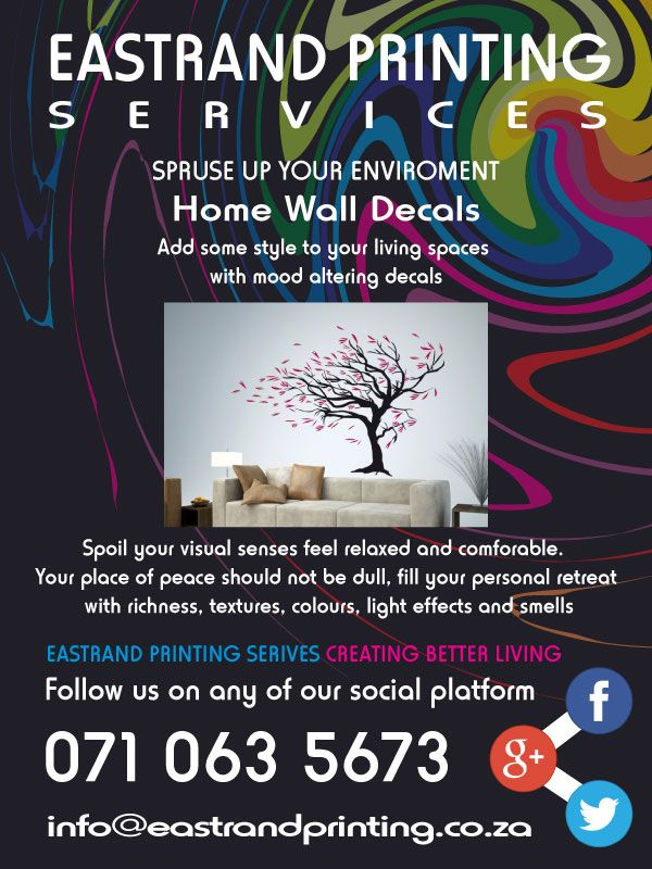 Custom Vinyl Wall Decals #Homedecor #Walldecals #Interiordecorating #Printing #Walldesign  EastRand Printing can custom design and create specialized wall decals that will create a feeling of peace in your home.  Contact us for more information.  071 063 5673 www(dot)eastrandprinting(dot)co(dot)za info@eastrandprinting(dot)co(dot)za google(dot)com/+EastrandprintingCoZa www(dot)pinterest(dot)com/eastrandprint