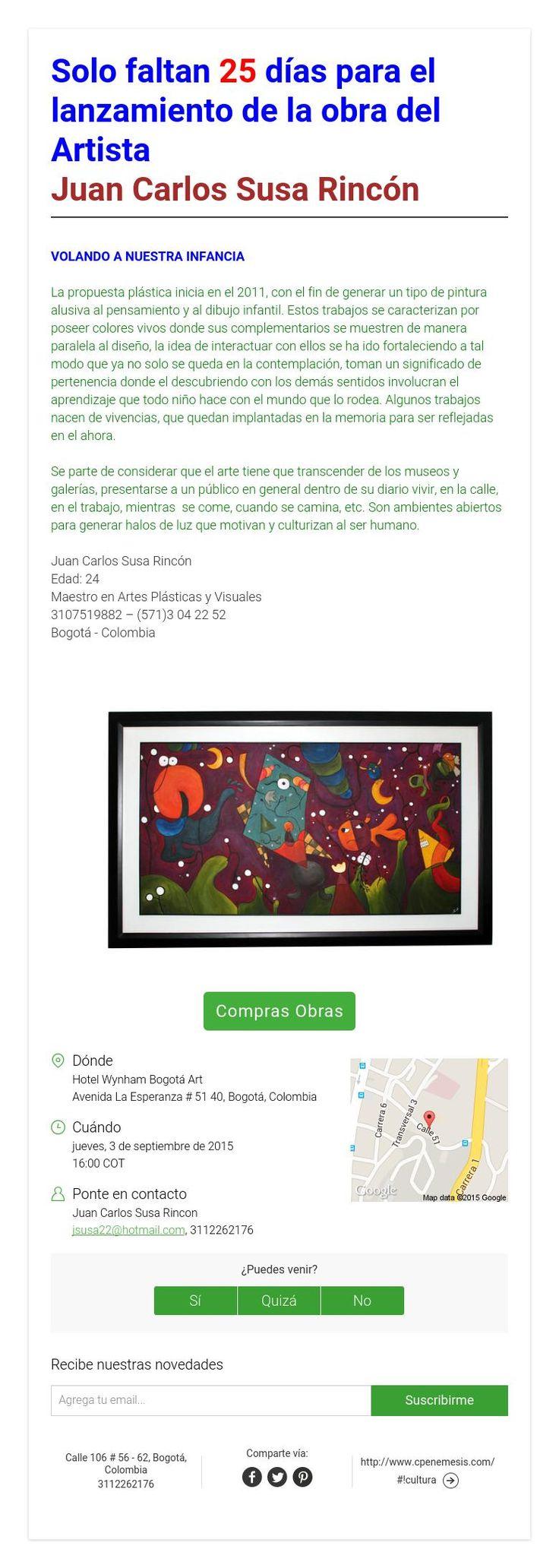 Solo faltan 7 días para el lanzamiento de la obra del Artista Juan Carlos Susa Rincón