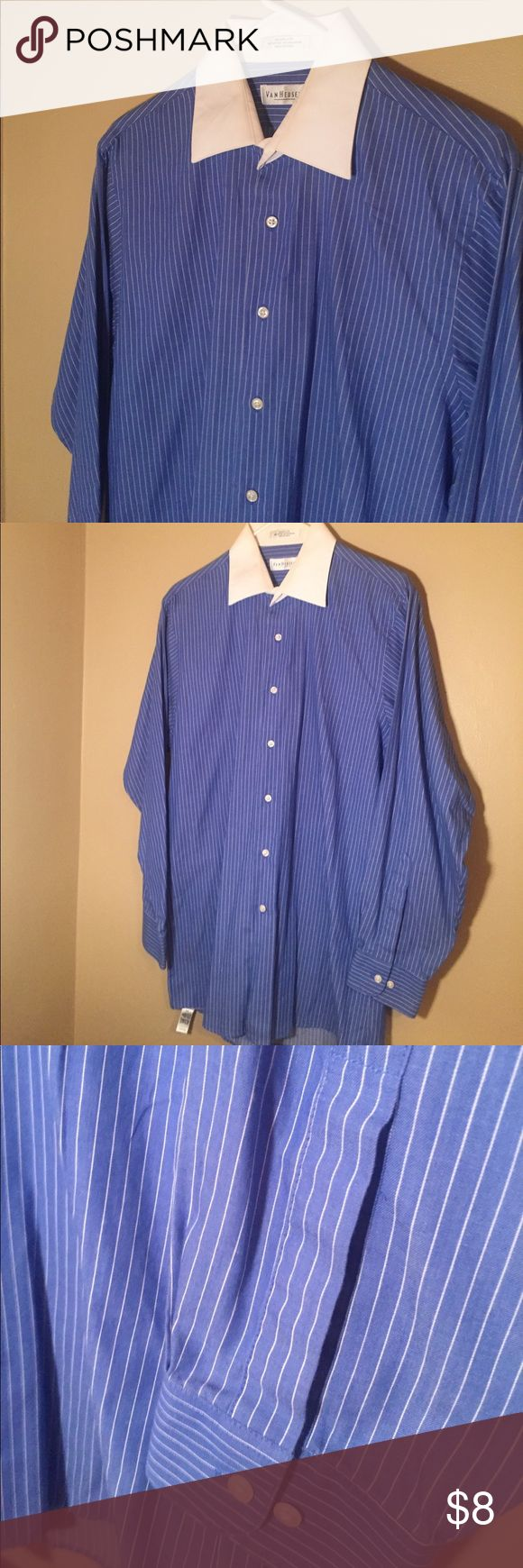 Men's Blue shirt white collar button up Excellent used condition. Selling because it no longer fits. Bright blue shirt with white pinstripes and white collar. Size says 15-15.5 Van Heusen Shirts Casual Button Down Shirts