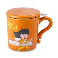 Or Tea?™ Orange Mug with matching lid and stainless steel tea strainer