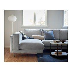 NOCKEBY 2-sits soffa med schäslong vänster - vänster/Tallmyra vit/svart, förkromad - IKEA