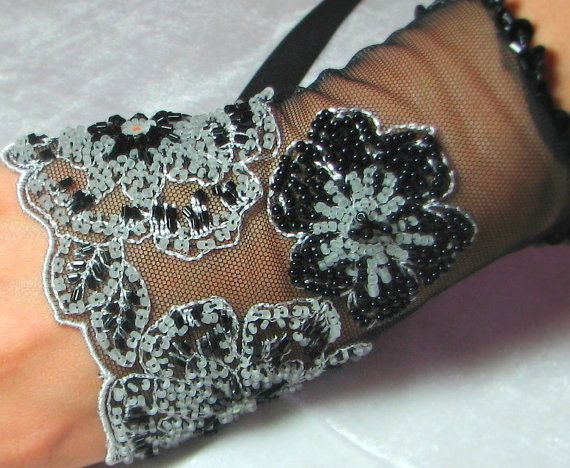 OOAK Hand Beaded Lace Cuff in Black & White