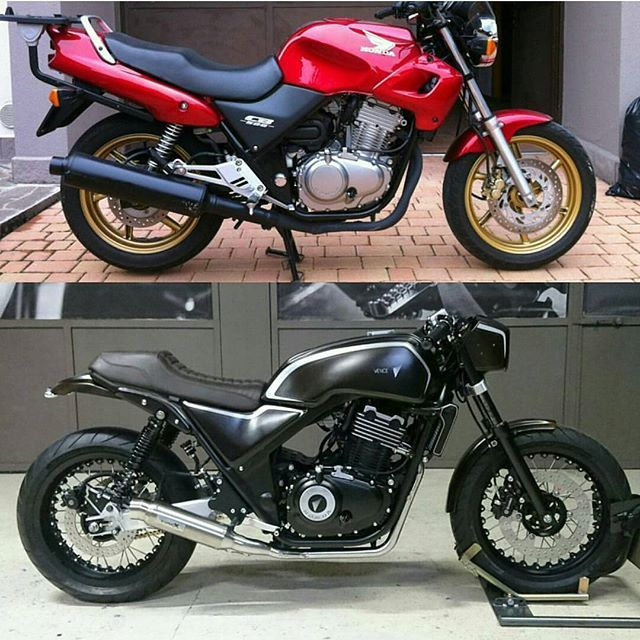 by @vence_prodigal_bikes Before & After. #beforeandafter #before&after #instamoto #builtnotbought #stocksucks #ride #ride_like_hell #saintmotors #saint_motors #kustom #kulture #honda #cb #caferacer #custom #bike #motorcycle #bratstyle #scrambler #caferacer