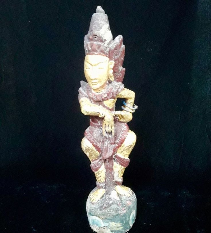 Sahadewa Wood Statue golden paint Bali Sculpture Ethnographic collectable Art
