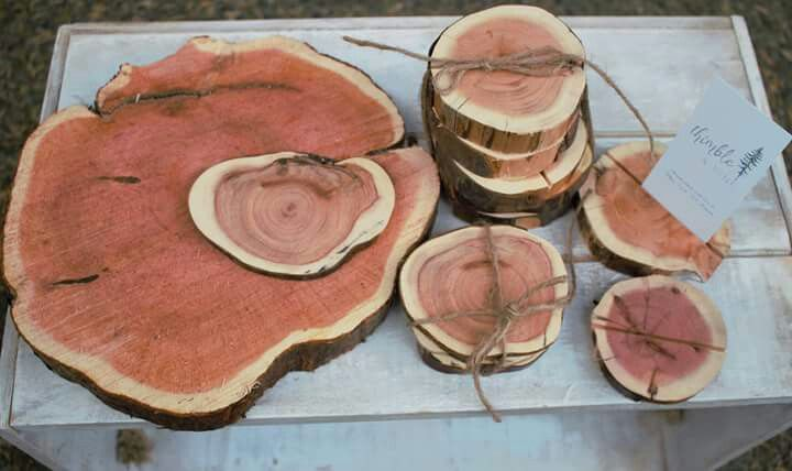 Yew wood slabs, coasters and place holders are now available