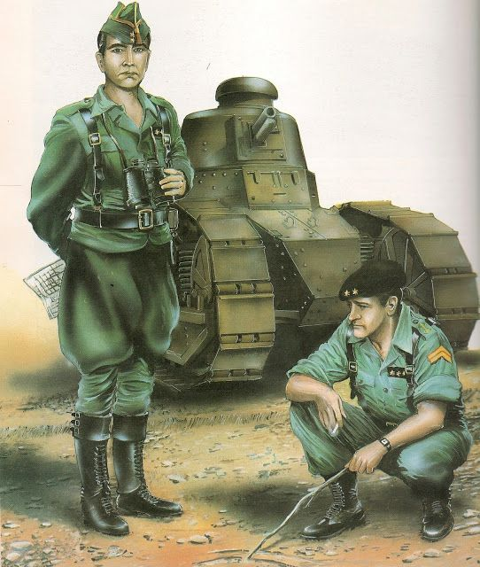 Spanish; Officers of the Spanish Foreign Legion's Armoured unit. Left a Lieutenant in Battledress winter 1938 and right a Captain in Summer Battledress