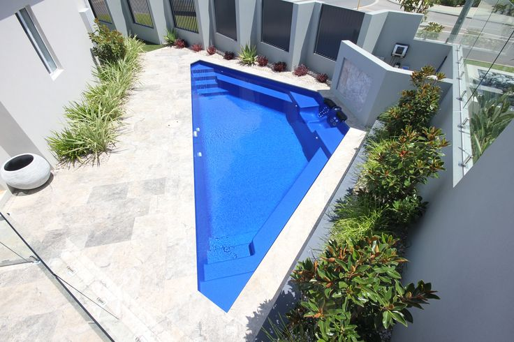 Bermuda - 8.44m x 3.58m, 1.4m constant depth. Ideal for small courtyards; especially if they are more triangular than square. http://www.sapphirepools.com.au/swimming-pools/bermuda/
