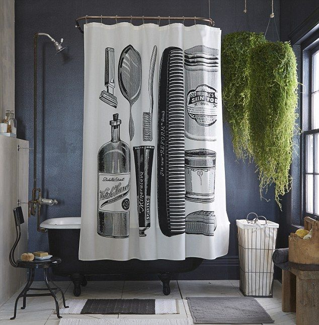 For a similar curtain, try Bodie & Fou's BARBER SHOP SHOWER CURTAIN, £65 - Best 20+ Tall Shower Curtains Ideas On Pinterest Blue Bathrooms