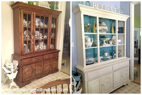 Before/After Hutch Transformation. I never cease to be surprised what a painted pop of color will do to transform second hand finds. (All decor on shelves are thrifted as well.)