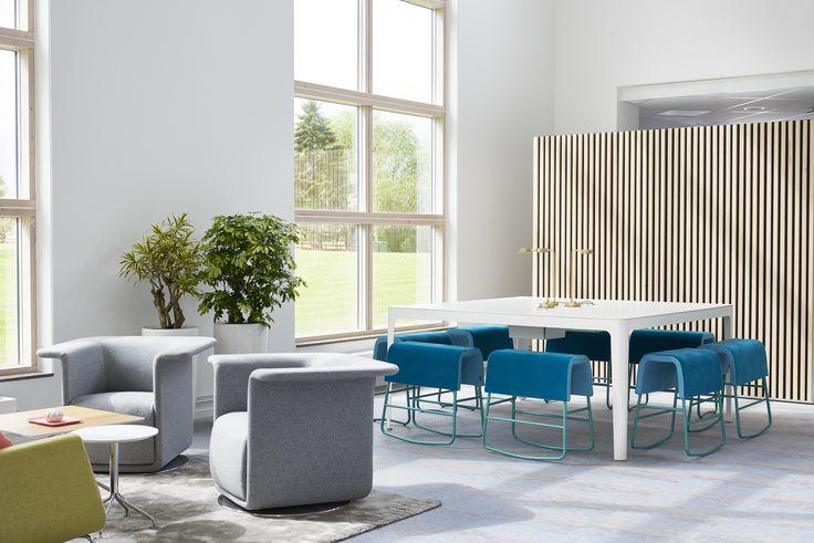 Hub easy chair, design: Carl Öjerstam | Ava conference table, design: Märta Friman | Plint bench and rocking bench, design: Sandin & Bülow