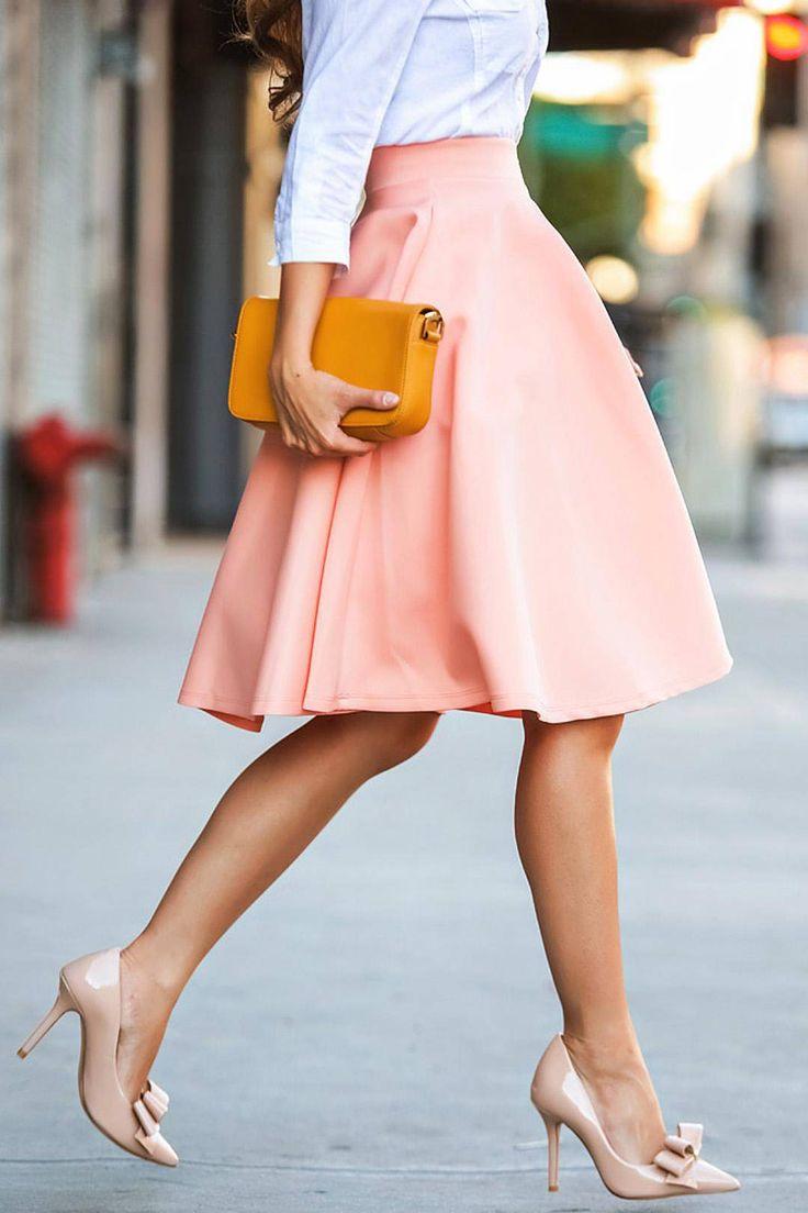 Pink Midi Skater Skirt  -YOINS