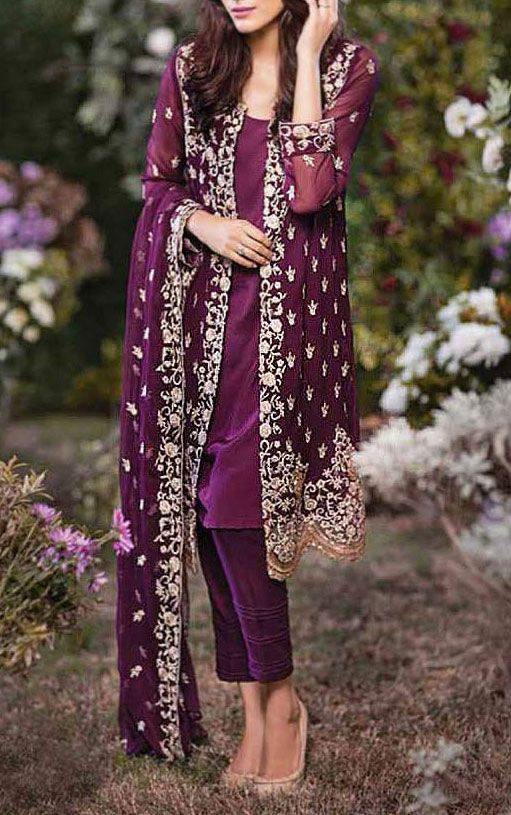 Buy Dark Purple Embroidered Chiffon Dress by Mina Hasan 2015.