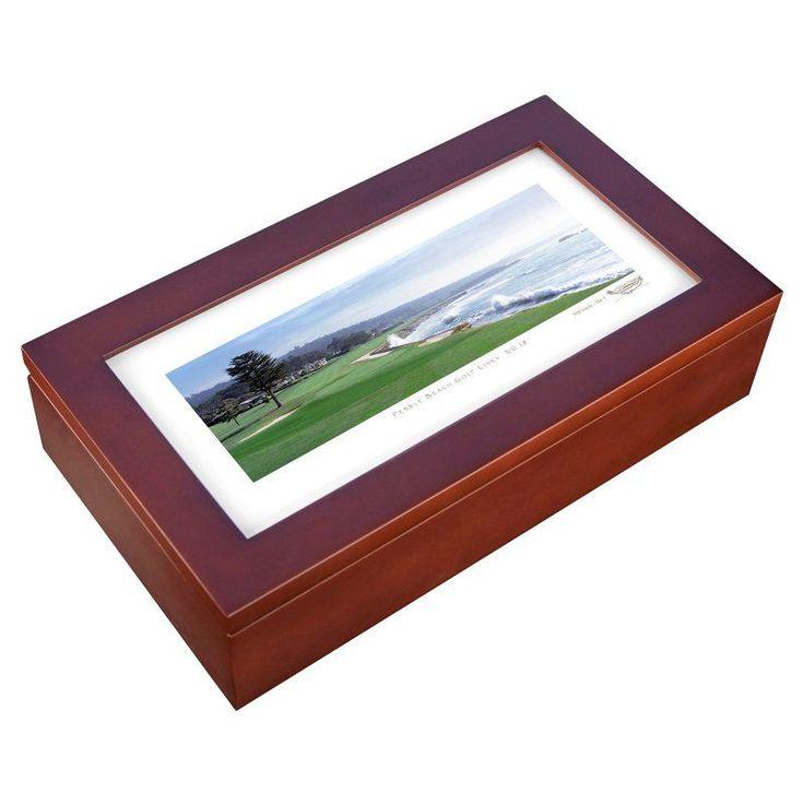 Stonehouse Mahogany Cigar Humidor -- Famous Golf Courses - PEBBL18H